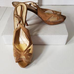 Kate Spade Slingback Peep Toe Suede Heels 8